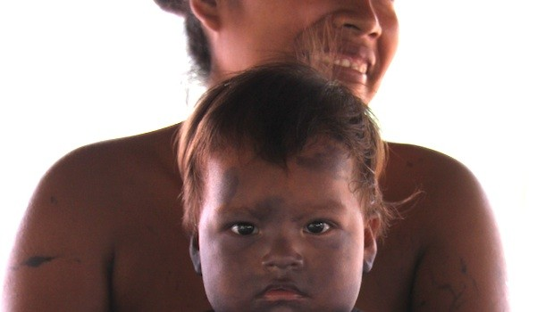 Embera people use body paint to protect kids from the sun and insects.