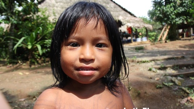 A young resident of the Embera Puru community in Panama.