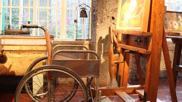 Wheelchair and easel used by artist Frida Kahlo.