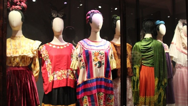 Frida Kahlo clothing and fashion exhibit, at Casa Azul museum.