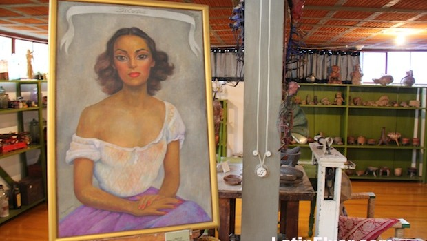 Portrait of actress Dolores Del Rio, by Diego Rivera, in his studio.