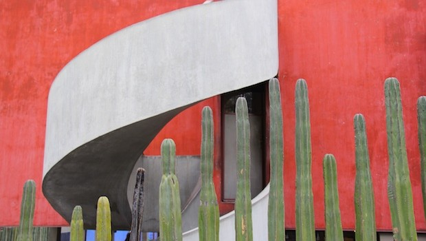Dramatic modern architecture and cactus plants at Diego Rivera home studio.