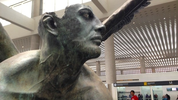 Close-up of bronze sculpture by Jorge Marin at Mexico City airport.