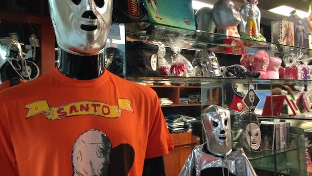 Hijo del Santo, a Lucha Libre theme store at Mexico City airport.
