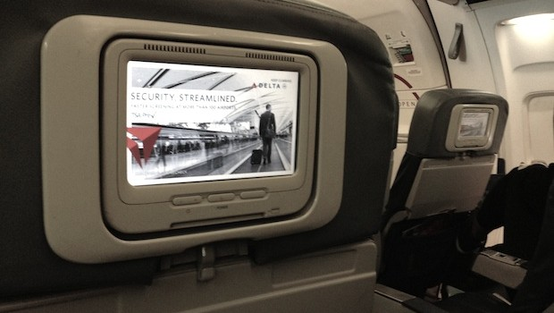 In-flight entertainment screen on Delta Air Lines Boeing 757.