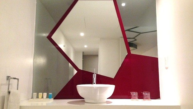 The futuristic bathroom in our room at Room Mate Valentina hotel in Mexico City.