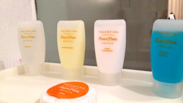 Bath amenities at Room Mate Valentina hotel in Mexico City.