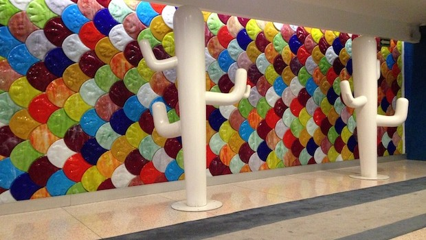 Touches of modern art grace the lobby at Room Mate Valentina hotel.