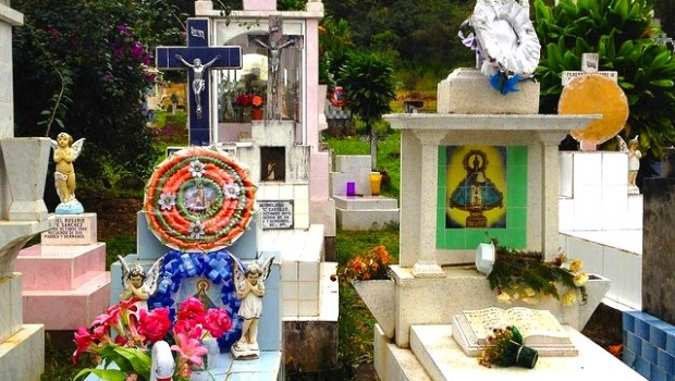 Colorful graves at the San Sebastian cemetery in Mexico.