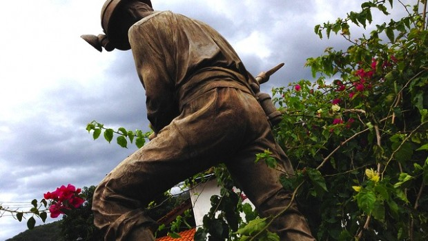 This statue of a miner is a tribute to mining traditions in Mexico.