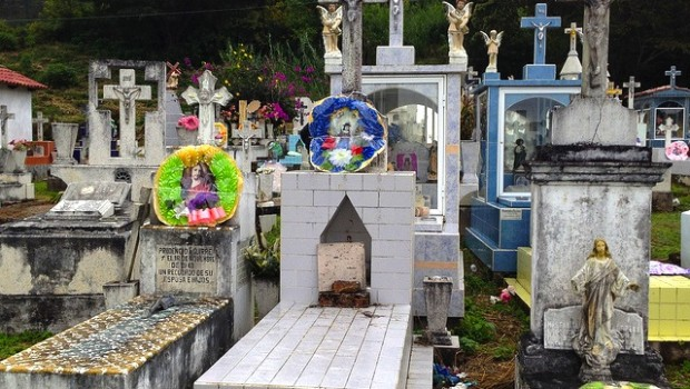 Ornate and diverse graves at San Sebastian cemetery in Mexico.