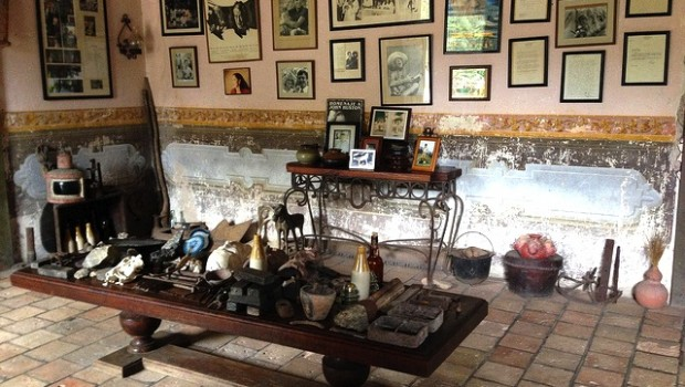Antiques and memorabilia line the walls of Hacienda Jalisco in Mexico.