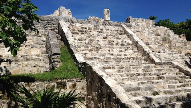 Ancient Mayan ruins at the Mayan Museum in Cancun.