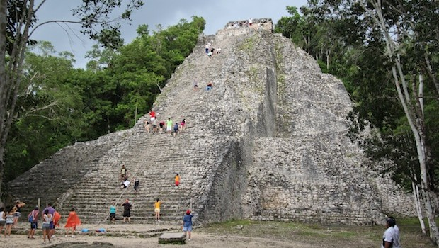 Mayan pyramid at the ruins of Coba.