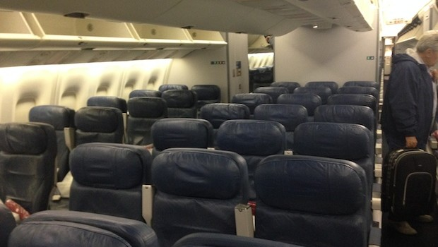 More airline seats aboard the Boeing 767 flown by Delta.