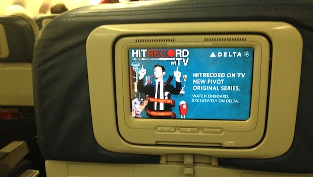 In-flight entertainment on the Delta Boeing 767-400.