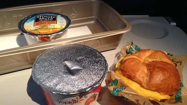 Free breakfast: airline meals aboard Delta Air Lines.