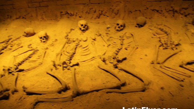 Skeletons at pyramid burial site, at anthropology museum.