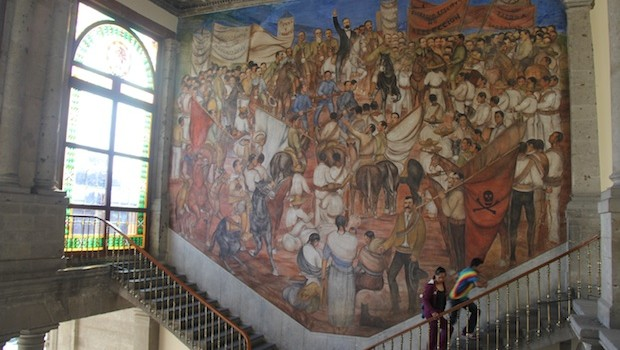 Murals grace the walls of Chapultepec Castle.
