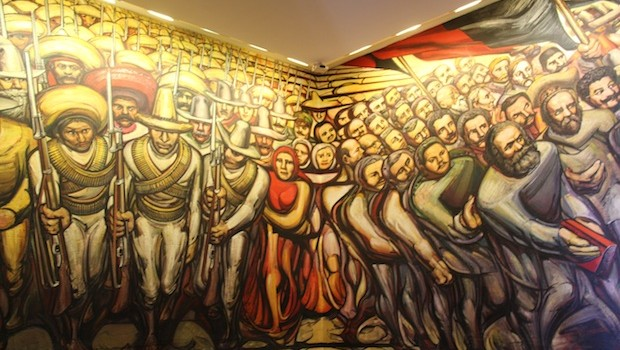Giant mural by Mexican artist David Alfaro Siqueiros, at Chapultepec Castle.