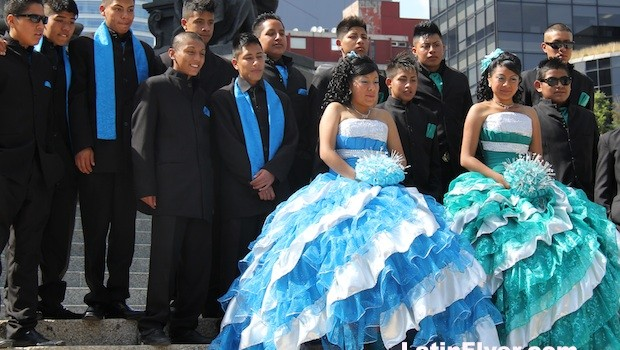 Boys and girls dressed for a Mexican quinceañera birthday party in Mexico City.