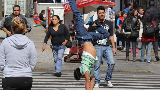 A breakdancer shows his skills in Mexico City.