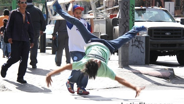 Dramatic breakdancing in Mexico City.