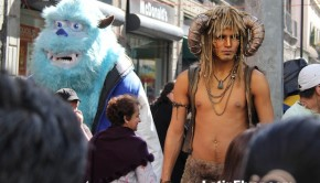 Monsters Inc. & Mythological superhero: Street performers in Mexico City.