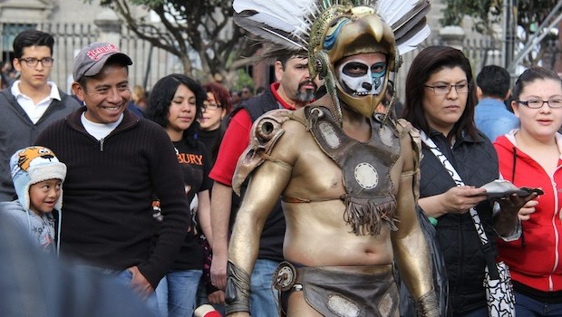 This Mexico City street performer shows some indigenous influences.