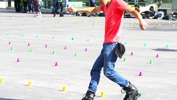 Roller skating outside Chapultepec Park, Mexico City.