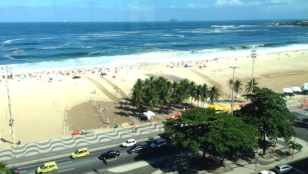 View of Copacabana Beach from the Griffin Club, JW Marriott Rio de Janeiro.