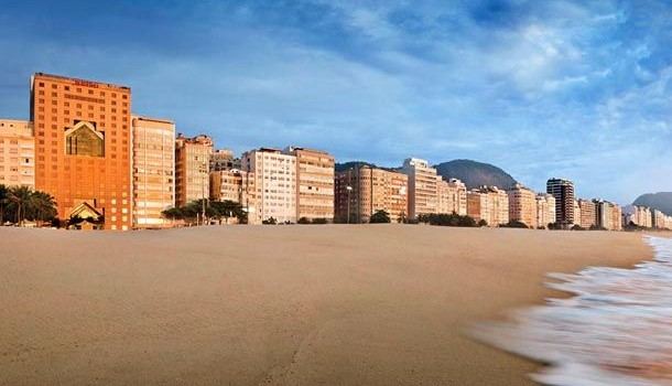 The JW Marriott Rio de Janeiro (at left) on Copacabana Beach.
