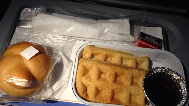 Airline food: Airline meals include waffles on Copa Airlines.