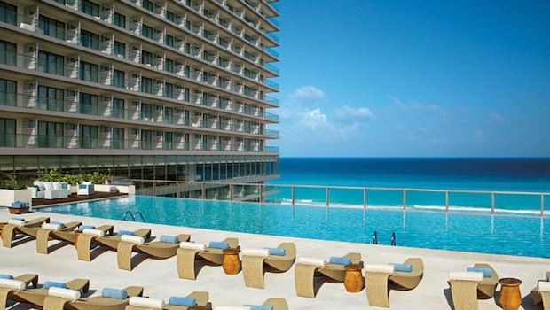 The Preferred Club Pool offers great Cancun beach view at Secrets The Vine.