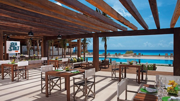Sea Salt is a poolside restaurant at Secrets The Vine hotel in Cancun.