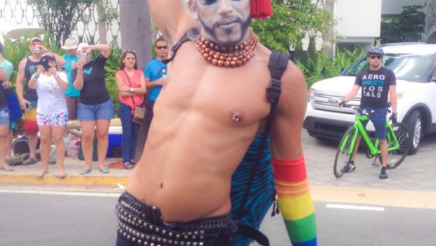 An especially creative participant in the Puerto Rico gay pride parade.
