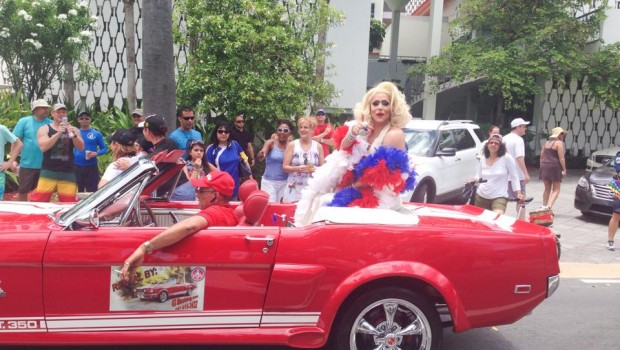 A vintage Ford Mustang was the perfect vehicle for this drag queen.