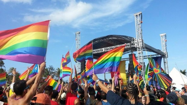 Rainbow flags at the gay pride rally in San Juan, Puerto Rico.