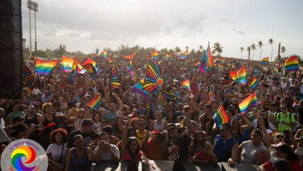 Thousands gathered at Escambron Park for the gay pride festival in San Juan.