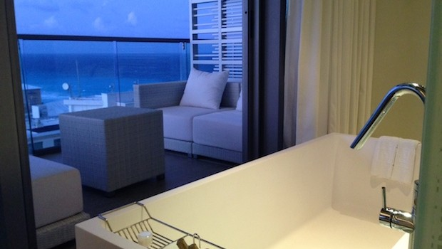 Yes, that's our bathtub — looking out over the Cancun beach.