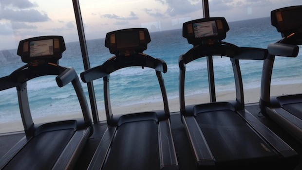 Even the gym has a Cancun beach view at Secrets The Vine.