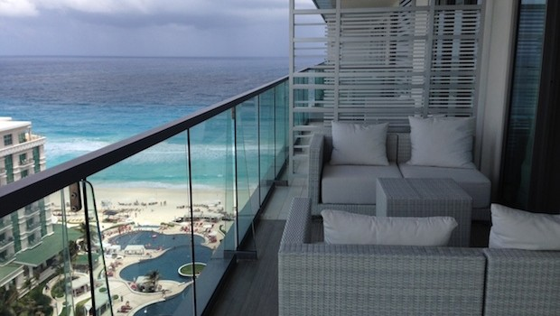 View from our side balcony at Secrets The Vine, a luxury resort in Cancun.