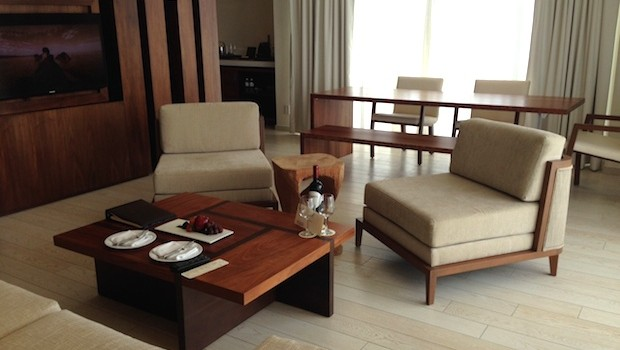 Our suite's main living room at Secrets The Vine in Cancun.