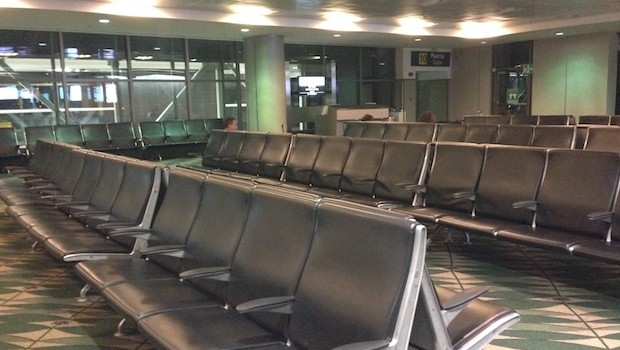 Waiting area for United Airlines flights at the San Jose airport in Costa Rica.