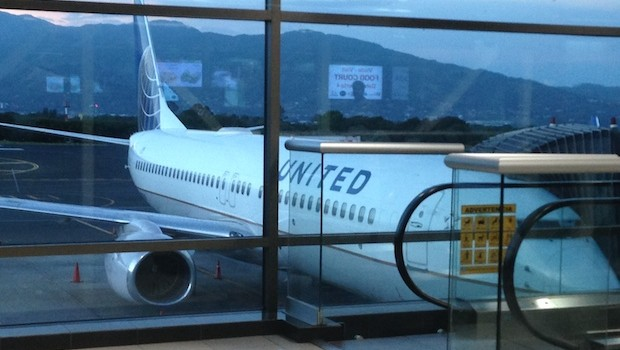 United Airlines Boeing 737 at airport in San Jose, Costa Rica.