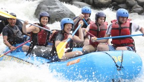 There I am, actually enjoying my Costa Rica whitewater rafting trip!