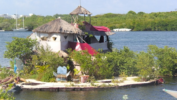 A mini-island built on recycled plastic bottles, at Isla Mujeres.