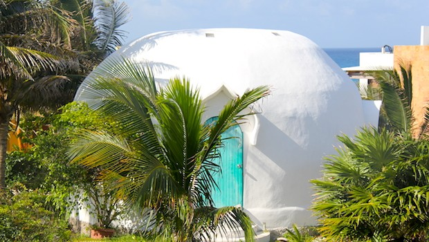 Vacation homes have interesting architecture on Isla Mujeres.