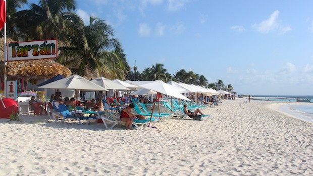 Relaxing on Playa Norte, a beach on Isla Mujeres, Mexico.