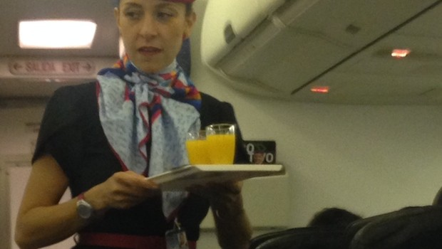 The Aeromexico flight attendant uniform features a stylish hat.